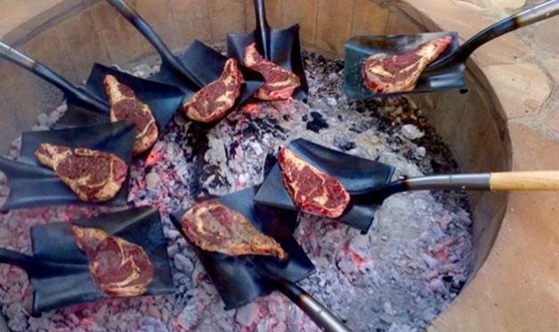 T Bone Steaks On A Shovel Barbecuebible Com