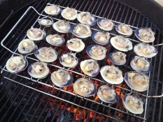 ... grilled clams grilling clams remove clams from water with a grilled