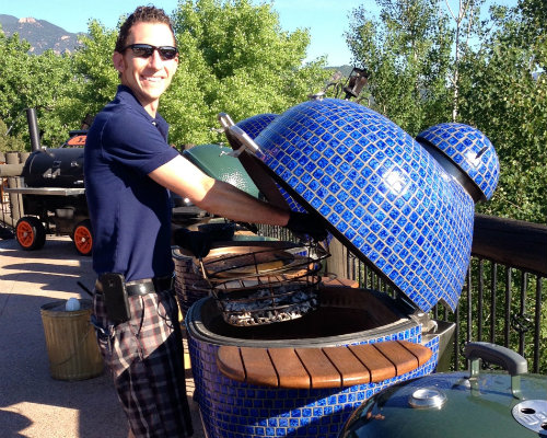 Joe Archey with Komodo Kamado grill at Barbecue University