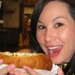 David Raichlen's Fiance Eating the Sonoran Dog