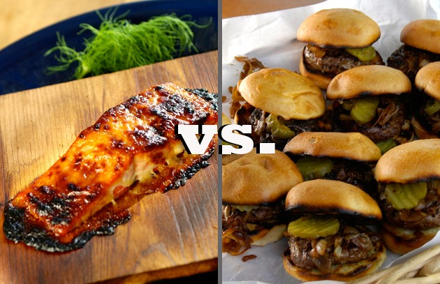 Super Bowl Showdown: Seattle Planked Salmon vs. Denver Bison Burgers