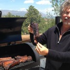 Steven Raichlen with offset barrel smoker