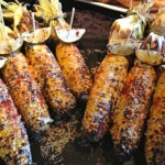 Grilled corn with husk