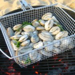 Shellfish in grilling basket
