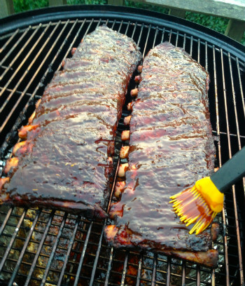Ribs on smoker