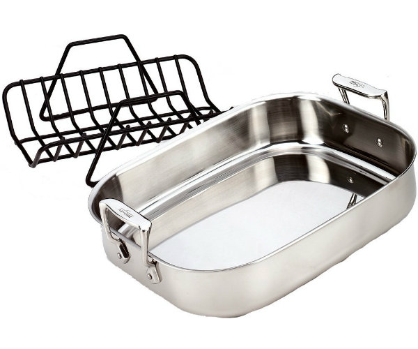 Stainless Steel Roasting Pan With Rack Barbecuebible Com