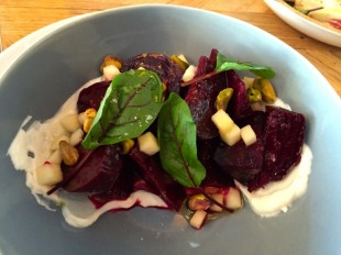 Smoked beet salad at Barrel & Ashes