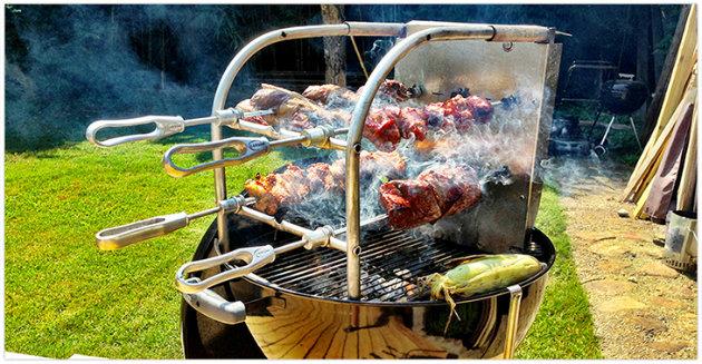 A Carson Rodizio on a Weber kettle grill