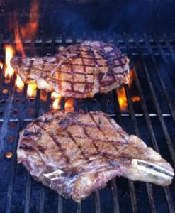 Steaks on pellet grill