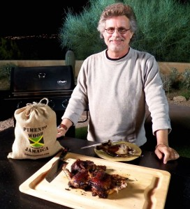 Steven Raichlen with jerk chicken
