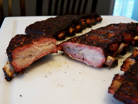 Before going in the slow cooker, these ribs had a nice smoke ring.
