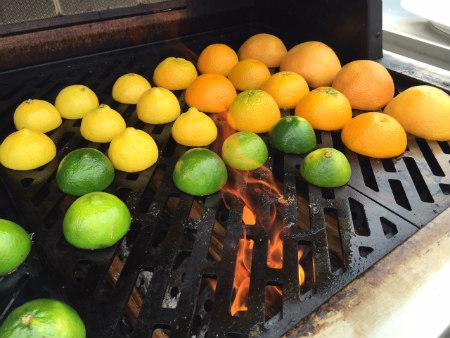 Lemons limes on grill-450