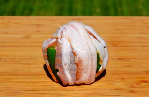 Onion bomb in bell pepper