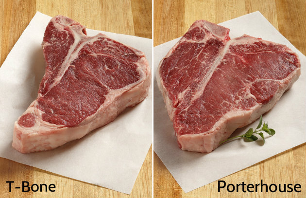 t bone vs porterhouse steaks