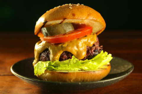 Hay-Smoked Burgers with Rauchbier Cheese Sauce