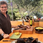 Steven Raichlen on the set of Project Smoke with beef ribs