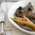 Sage Rubbed Pork Chops with Blue Cheese and Concord Grapes