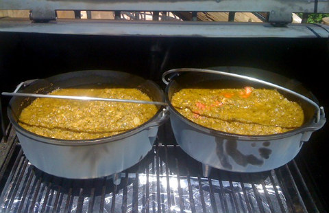 Chili in dutch ovens on the grill