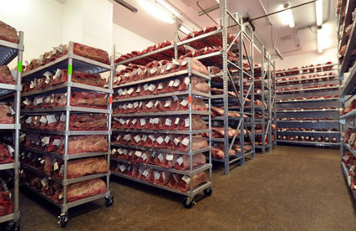 Shelves of dry-aging beef