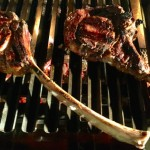 Tomahawk steak on grill