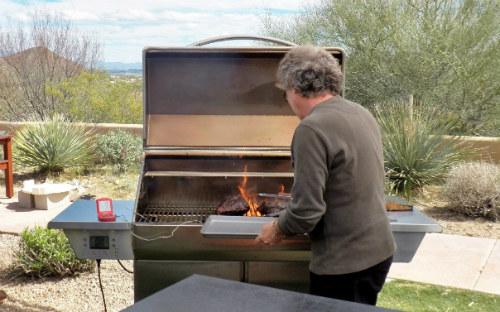 Steven Raichlen with pellet grill/smoker