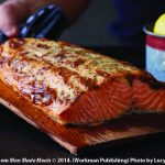 Planked salmon with lemon mustard glaze