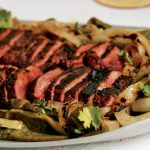 Grilled skirt steak with poblano peppers