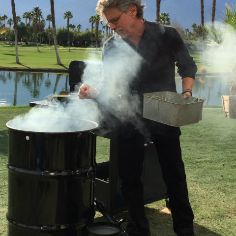 Steven Raichlen with Pit Barrel Cooker on the set of Project Smoke