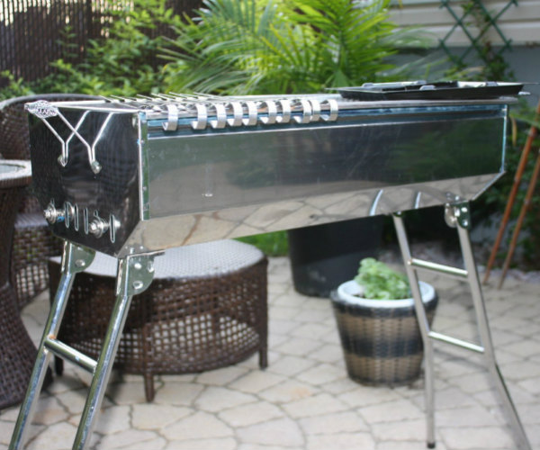 Stainless Steel Charcoal Mangal Grill With Skewers Barbecuebible Com