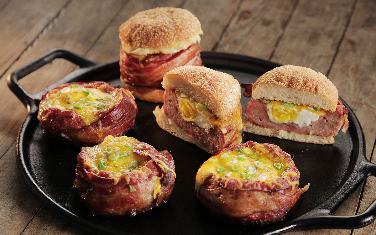 Beer-Can Breakfast Burgers - Barbecuebible.com