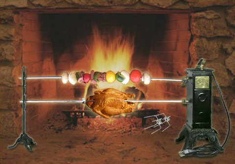 SpitJack Electric Fireplace Rotisserie