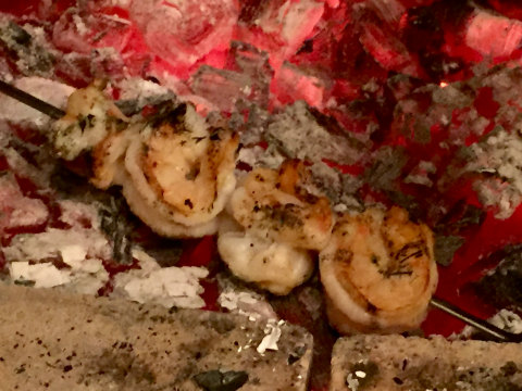 Shrimps cooked in embers at Primitivo