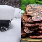 A grill in snow, and pork steaks