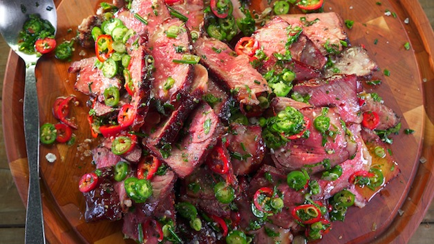 Cherry Smoked Strip Steak With Cutting Board Sauce Barbecuebible Com