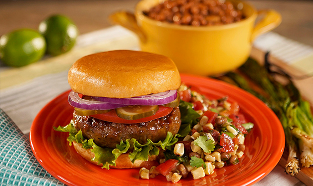 Inside-Out Cheeseburgers and Grilled Corn Salsa Recipe - Barbecuebible.com