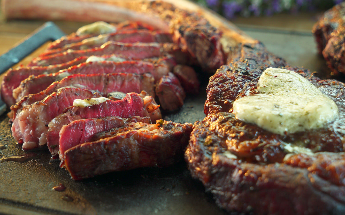 Wood Grilled Beef Tomahawks With Blue Cheese Butter