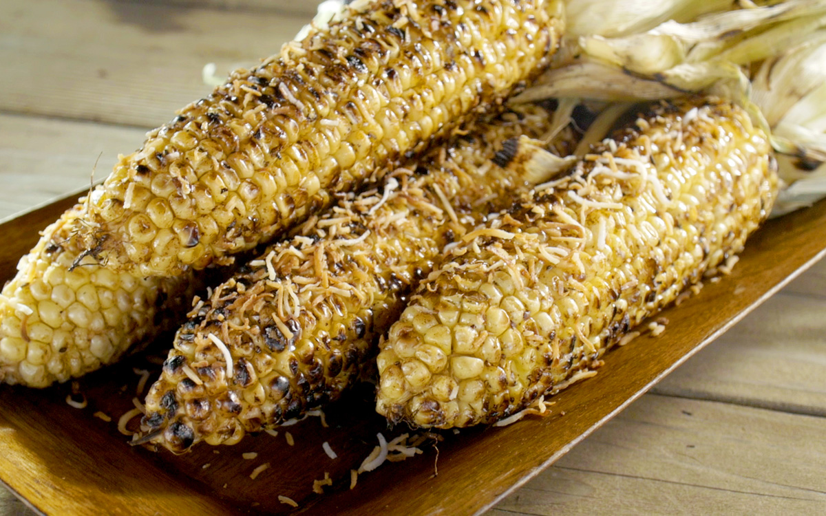 Coconut-Grilled Corn with Sesame Soy Butter Recipe - Barbecuebible.com