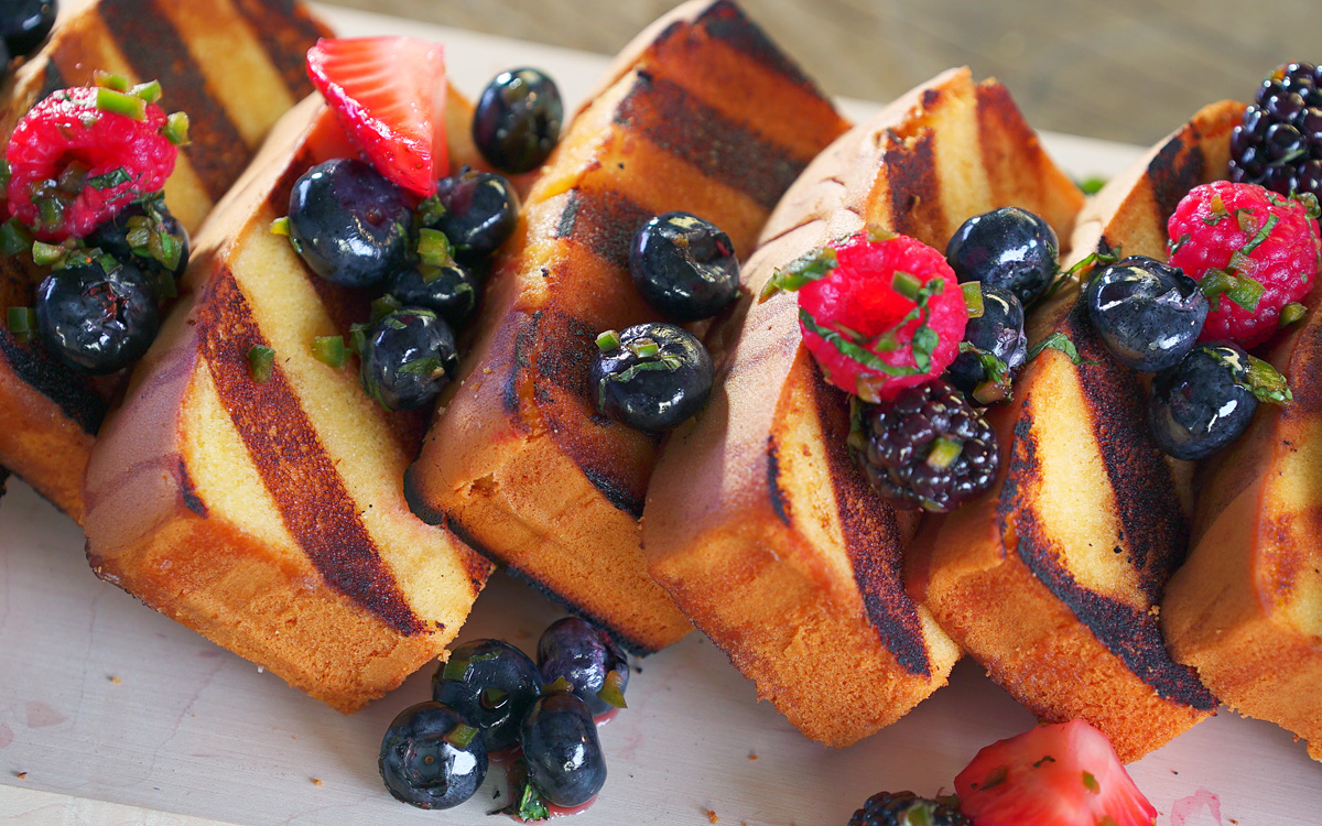 Grilled Pound Cake with Mixed Berry Salsa and Smoked Whipped Cream