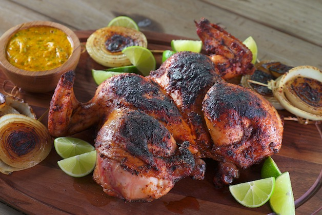 Peruvian Style Spit Roasted Chickens With Green Sauce