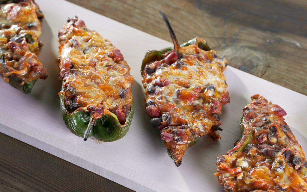 Barbecued Bean And Cheese Chile Rellenos
