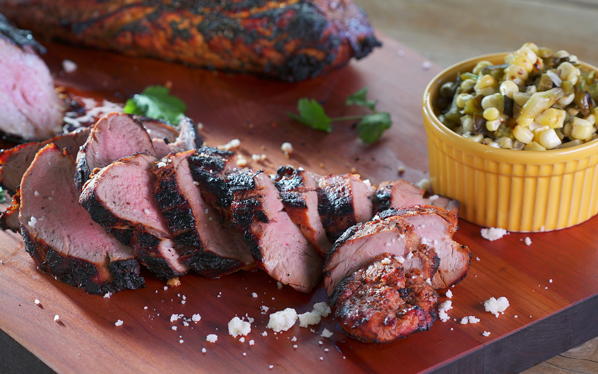 Chipotle-Marinated Pork Tenderloin with Grilled Nopalitos Corn Salad