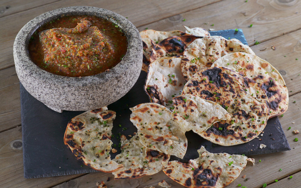 Ember-Roasted Salsa with Grilled Tortillas