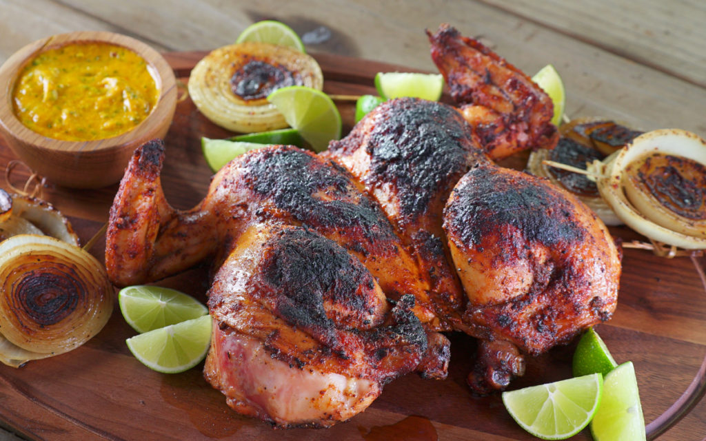 Peruvian-Style Spit-Roasted Chickens with Aji Amarillo Sauce