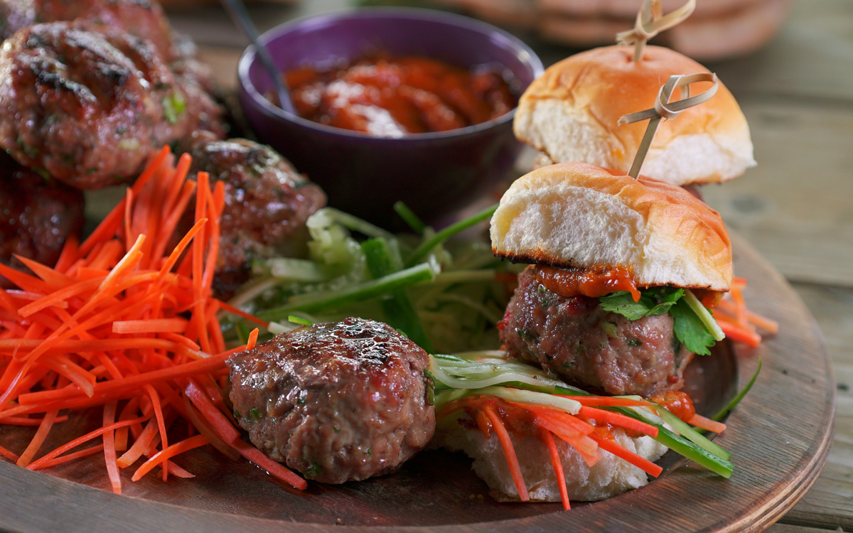 Thai Veal Burger Sliders with Peanut Sauce Recipe - Barbecuebible.com