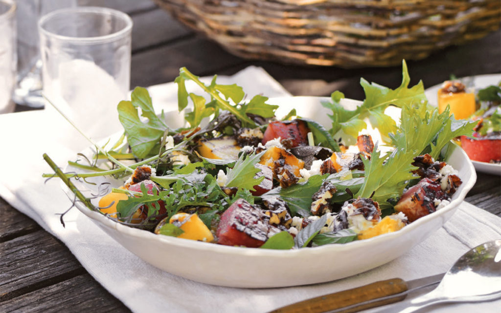 Grilled Watermelon Salad with Arugula and Queso Fresco
