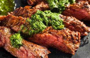 Steak and Potatoes: Skirt Steak with Chimichurri and Smashed Potatoes
