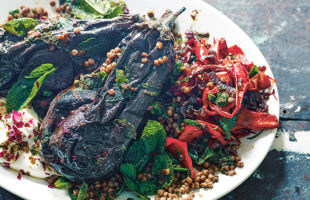 Vegetarian Grilling: Charred Whole Eggplants, Couscous and Confit Peppers