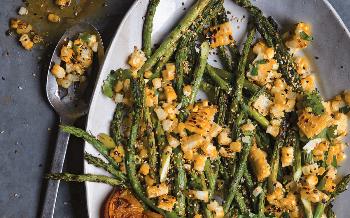 Grilled Asparagus and Corn Salad Recipe - Barbecuebible.com