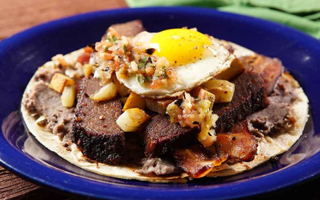 Real Deal Holyfield (Brisket Breakfast Taco) with Fire-Charred Salsa