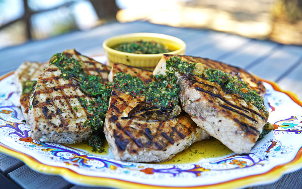 Grilled Swordfish Steaks with Golden Raisin Chimichurri